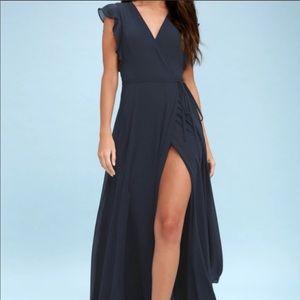 Lulus baby blue wrap maxi dress